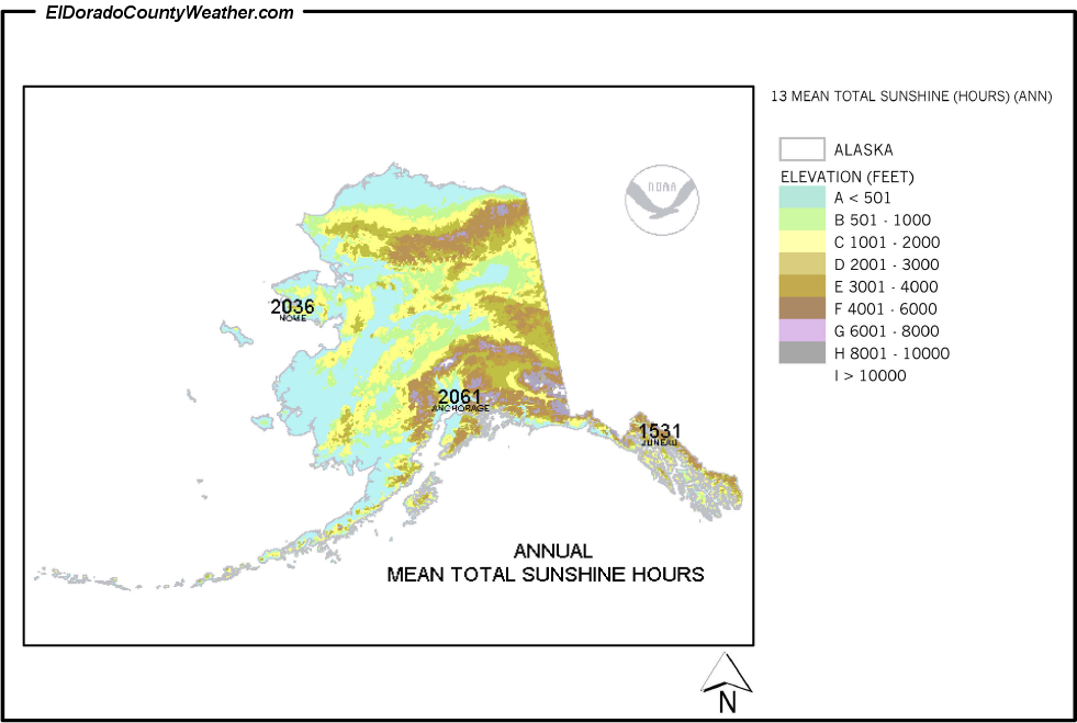 alaska annual mean total sunshine hours