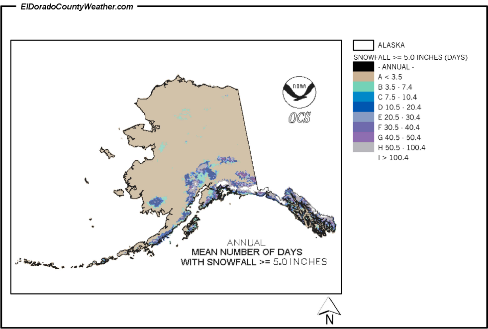 alaska mean number of days with snowfall greater or equal to 5 inches