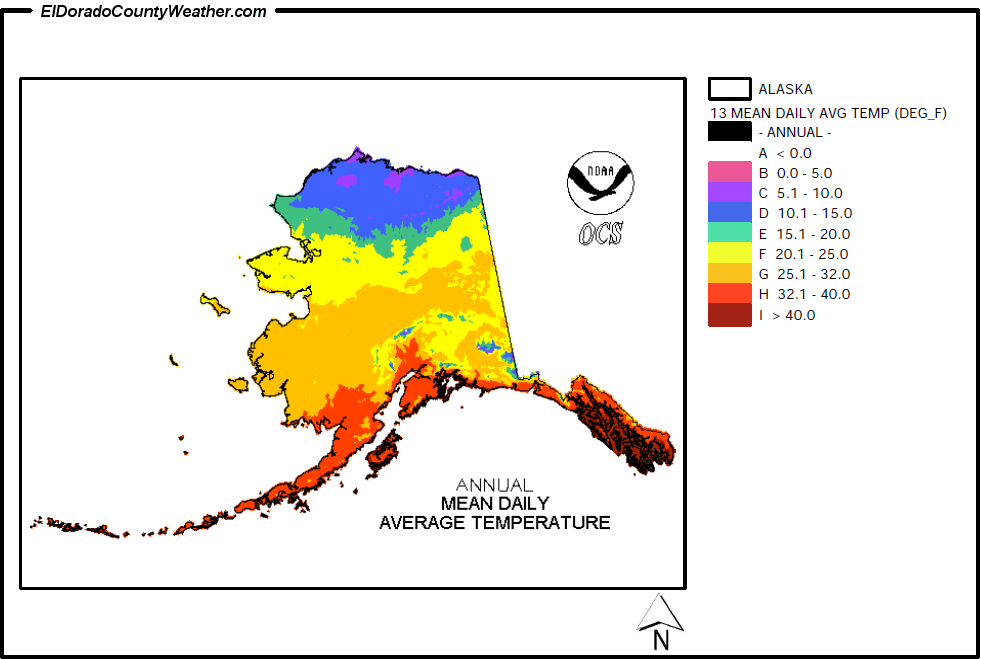Alaska Yearly-Monthly Mean Daily Average Temperatures