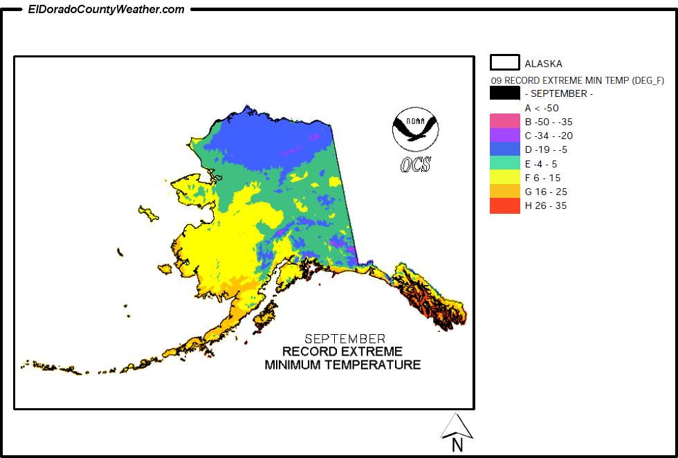 Alaska Temperature Map Alaska Climate Map for September Record Extreme Minimum Temperatures