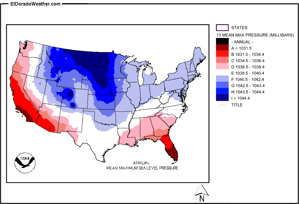 United States Yearly Annual And Monthly Mean Maximum Sea Level - Pressure-map-of-us