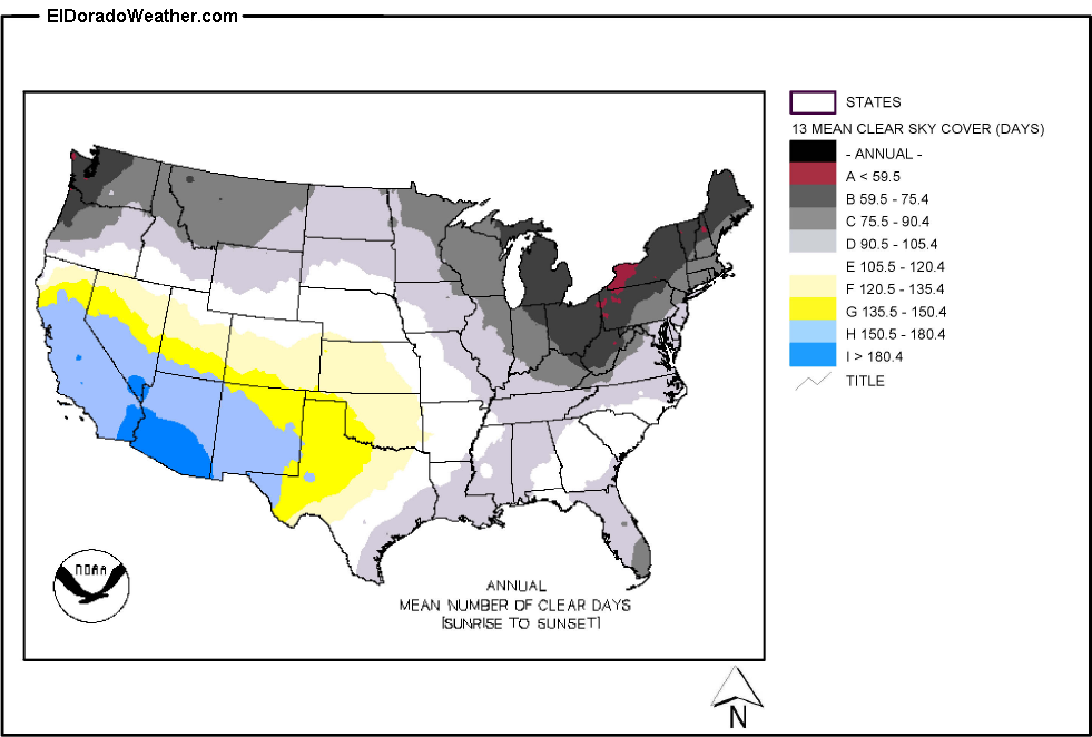 United States Yearly Annual And Monthly Mean Number Of Clear Days - Clear-us-map
