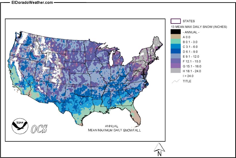 us annual mean maximum daily snowfall