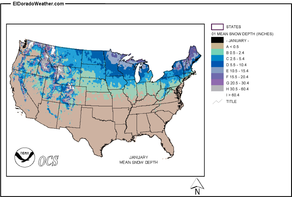 Us Snow Depths Map | MAP of US