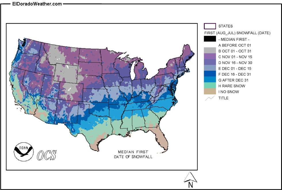 United States Yearly Annual Median First Date Of Snowfall - Map-of-us-snowfall