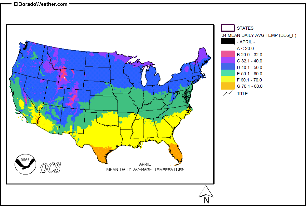 United States Yearly Annual Mean Daily Average Temperature for April Map