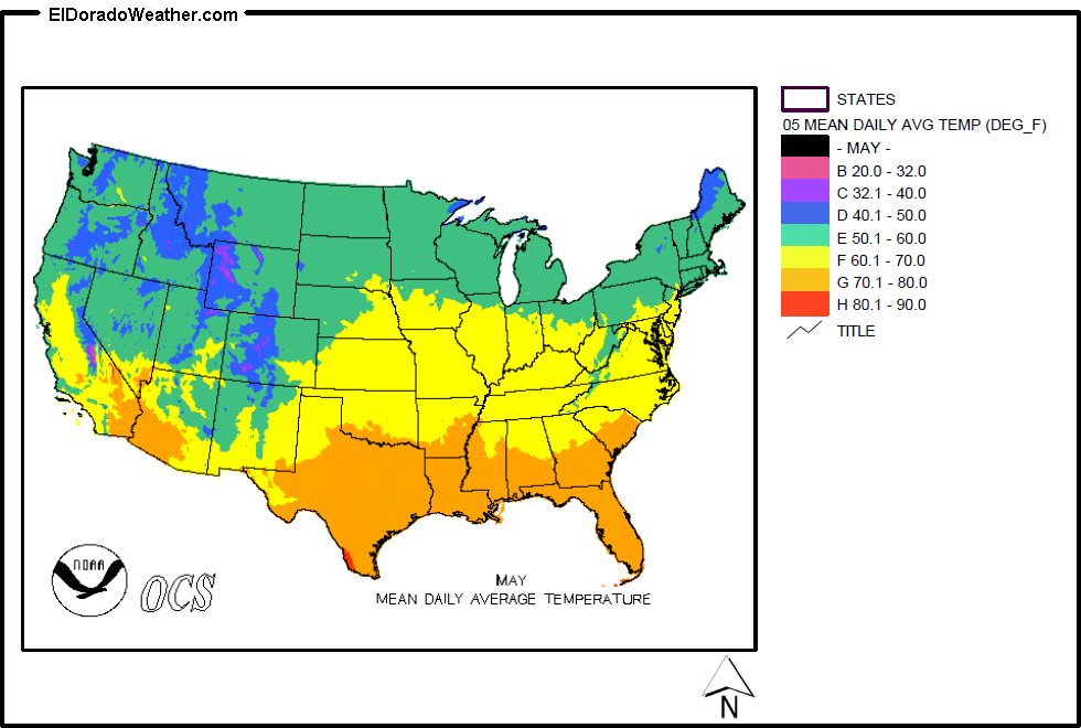 United States Yearly Annual Mean Daily Average Temperature for May Map