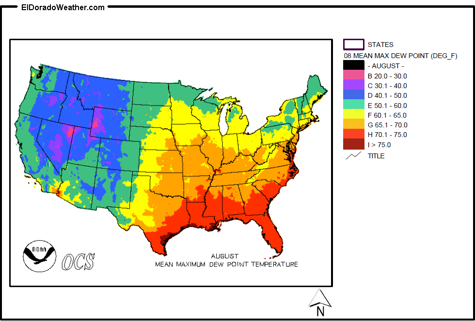 Dew Point Map United States Yearly [Annual] and Monthly Mean Maximum Dew Point