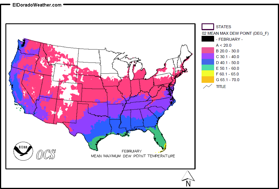 United States Yearly [Annual] and Monthly Mean Maximum Dew Point ...