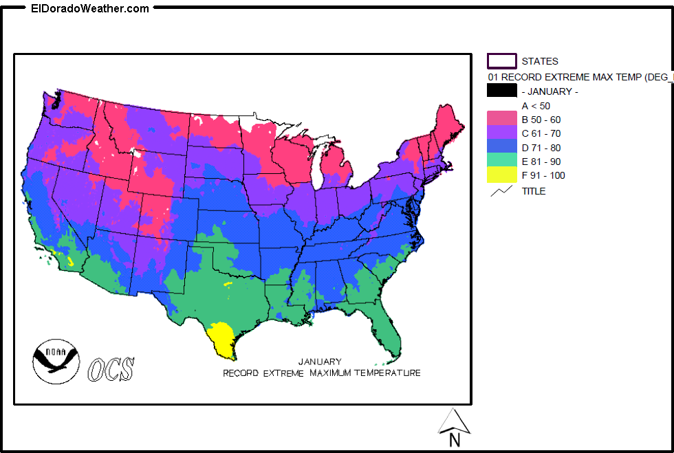 United States Record Extreme Maximum Temperature for January Map