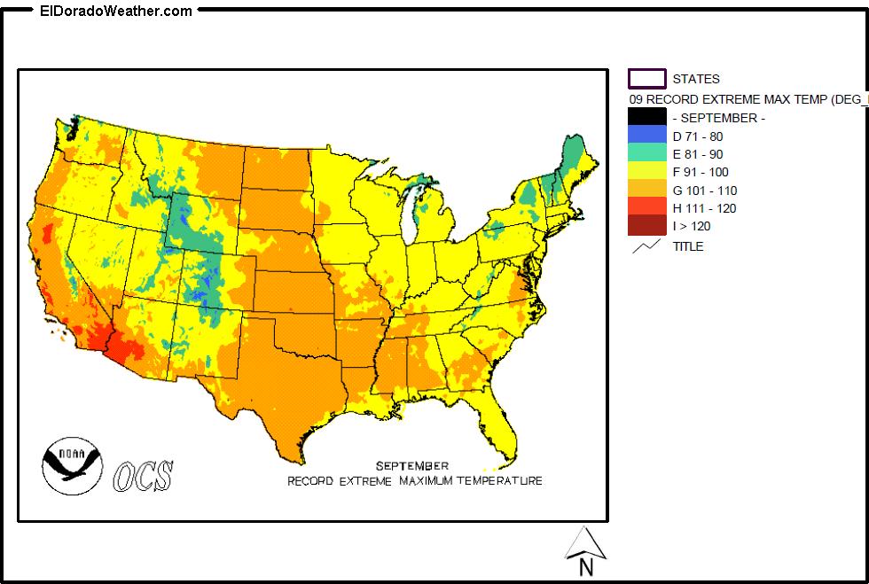 United States Record Extreme Maximum Temperature for September Map