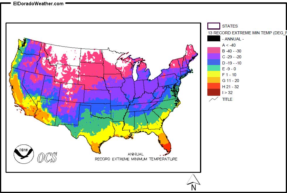 United States Annual Record Extreme Minimum Temperature Map