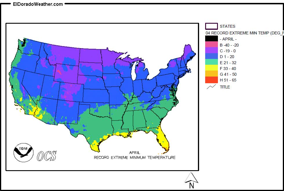 United States Record Extreme Minimum Temperatures For April Map - Us-map-with-temperatures