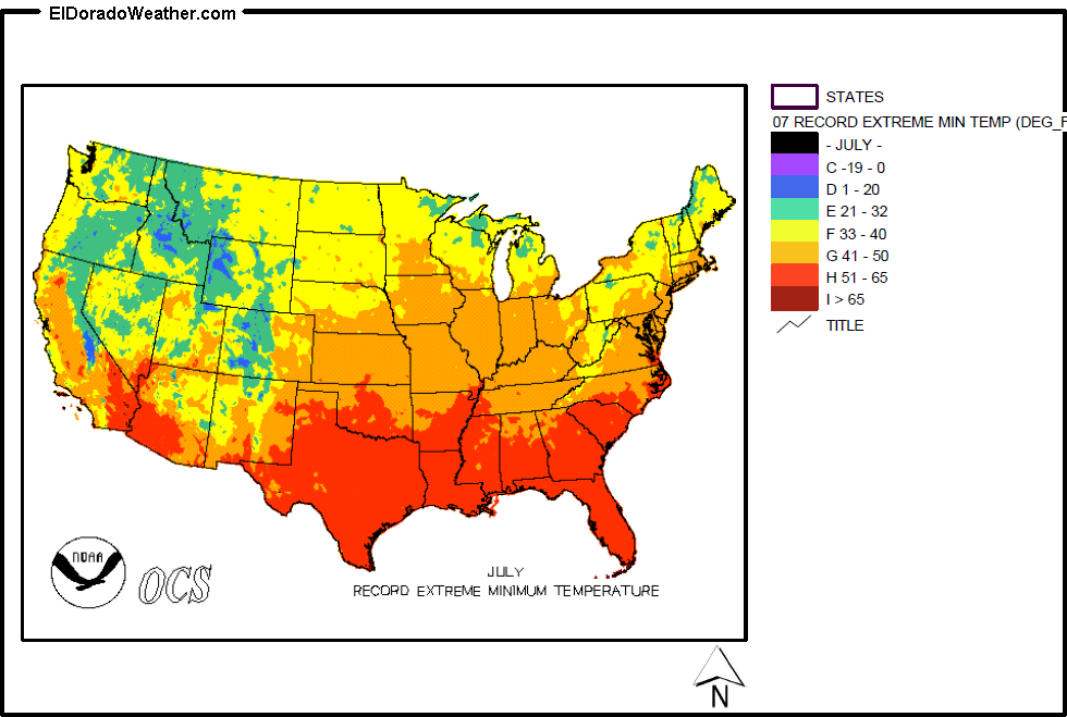 United States Record Extreme Minimum Temperatures For July Map - Us-map-with-temperatures