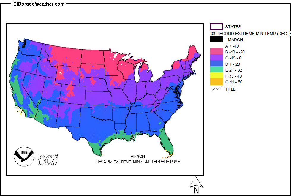 United States Record Extreme Minimum Temperatures For March Map - Map-of-temperatures-in-the-us