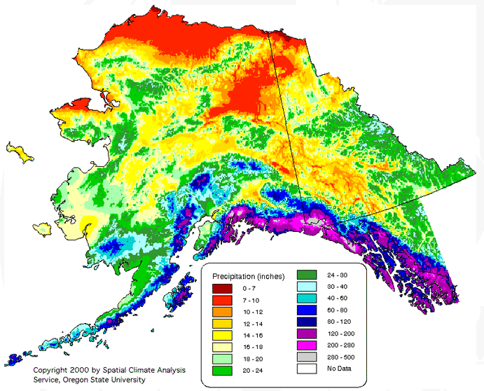 Alaska United States Average Annual Yearly Climate For Rainfall - Us-average-annual-rainfall-map