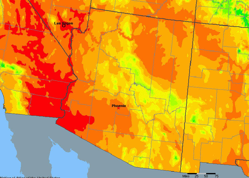 The State of Arizona Yearly Average Precipitation
