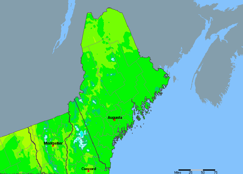 The State of Maine Yearly Average Precipitation