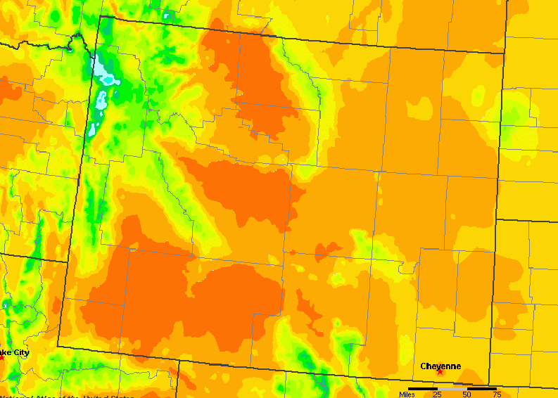 The State of Wyoming Yearly Average Precipitation