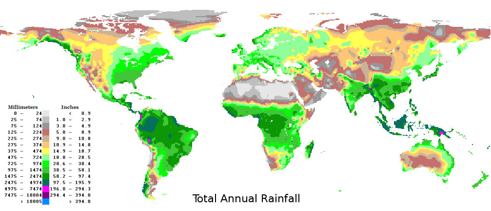 World Average Yearly Annual Precipitation