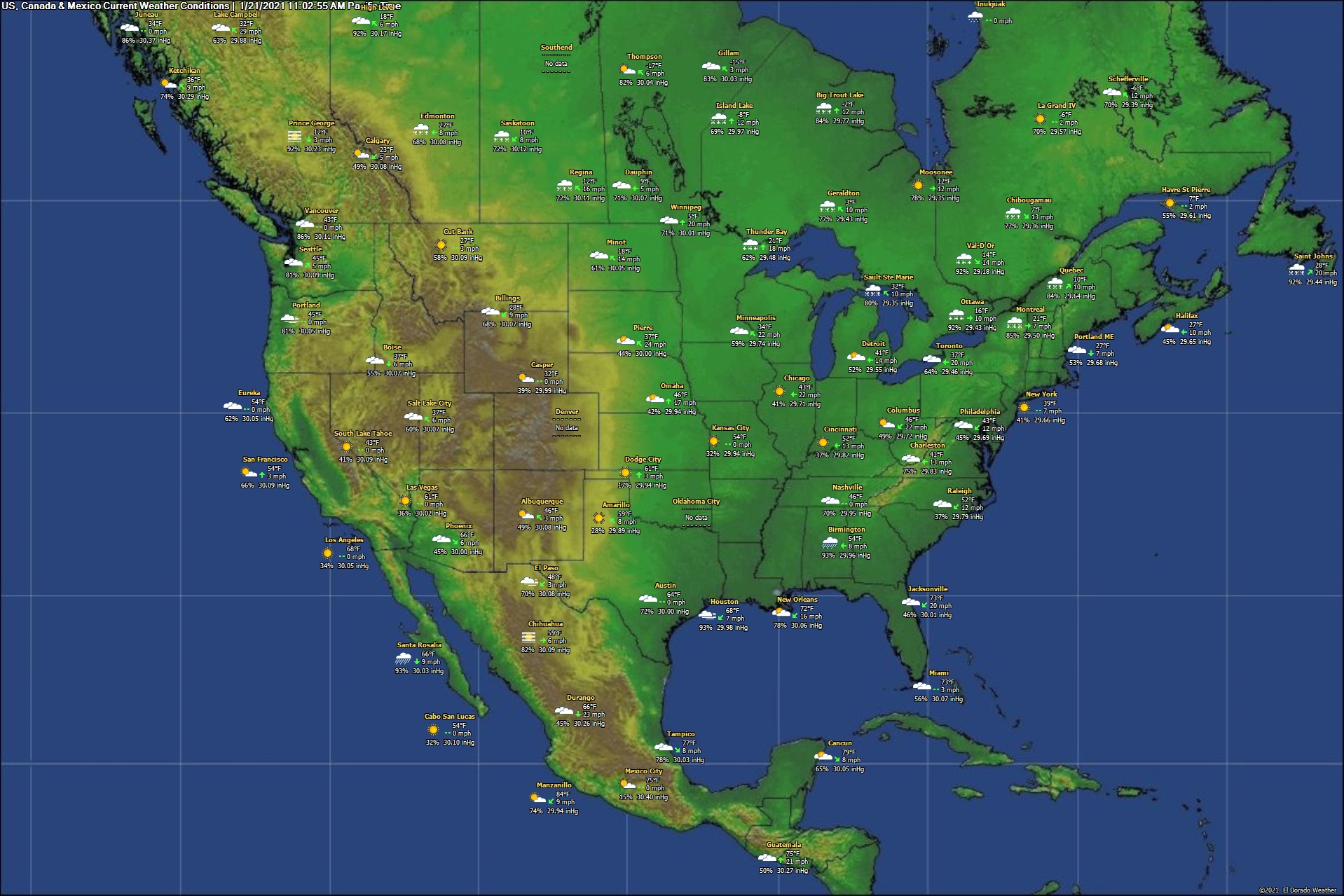 United States, Canada & Mexico Current Weather Conditions